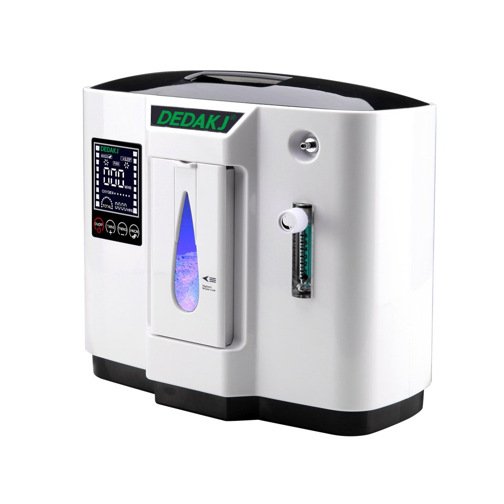 HUKOER Top Grade Portable Household Oxygen Concentrator Generator 1L Oxygen Making Machine Air Purifier 90% High Purity 6L Flow (white with black)