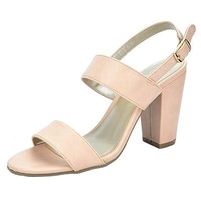 TOETOS Women's Stella Open Toe Mid Chunky Heel Pump Sandals   Heeled Sandals