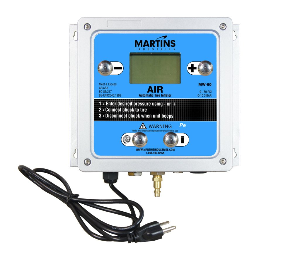 Blue 10.5 Width 1 Outlet 9 Length Martins Industries MW-60 Automatic Tire Inflator 145 PSI 3.5 Height