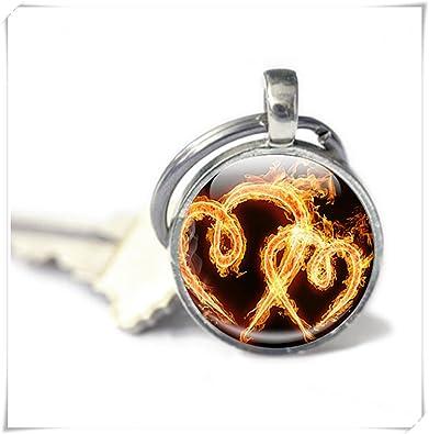 Amazon.com: Fire llavero, Fiery corazones llama llavero de ...