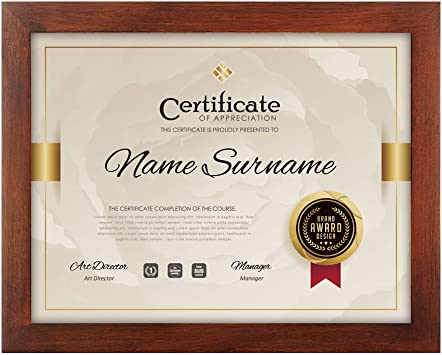 Rpjc Document Frame Certificate Frames Made Of Solid Wood High Definition Glass And Display Certificates 8 5x11 Inch Standard Paper Frame Brown