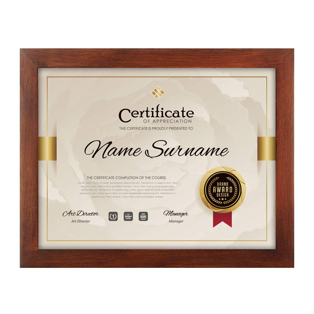 RPJC Document Frame/Certificate Frames Made of Solid Wood High Definition Glass and Display Certificates 8.5x11 Inch Standard Paper Frame Brown by RPJC
