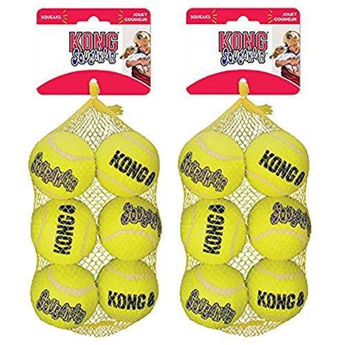 KONG Squeak Air Balls Dog Toy (12 Pack), Medium Air Squeaker Tennis Ball
