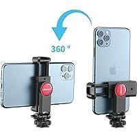 """スマートフォン三脚マウント 垂直ブラケット スマートフォンホルダー 360°回転 角度調整 スマホホルダー 一脚/三脚/自撮り棒用 1/4""""三脚マウント付 iPhoneなどに対応"""