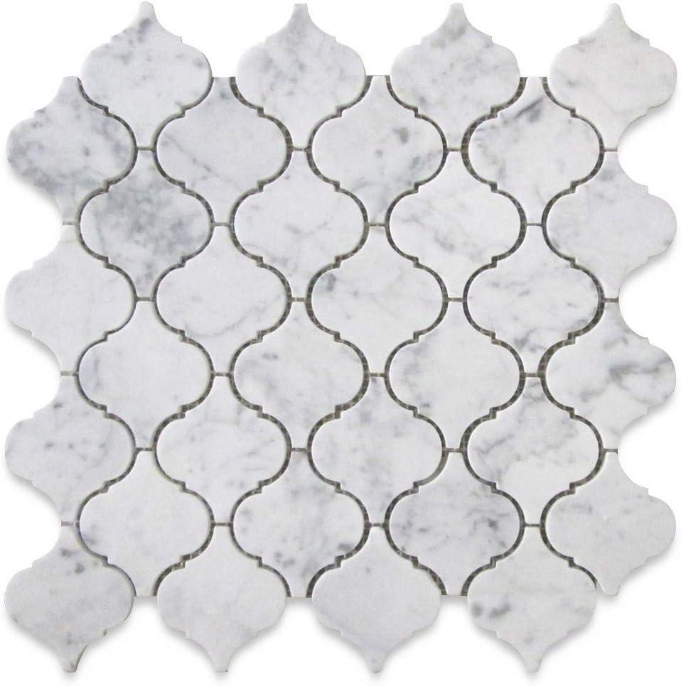 - Stone Center Online Carrara White Italian Carrera Marble Arabesque