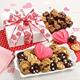 Mrs. Fields Cookies From The Heart Nibbler Box (44 Count) Includes 24 Nibblers Bite-Sized Cookies, 18 Brownie Bites, & 2 Frosted Cookies with Heart Sprinkles - Perfect Valentines Day Gift