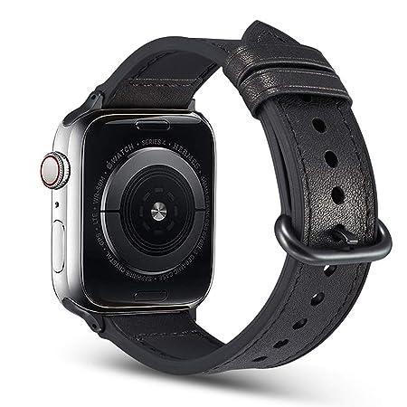 Correa Deportiva De Silicona Híbrida De Cuero para Apple Watch 44mm Serie 4, Confort Prácticamente Resistente Al Sudor + Correas De Repuesto De Cuero ...