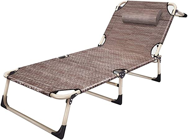 Bseack Tumbonas, 4 Respaldo Ajustable Ángulo Ajustable 120 ° -180 ° 8 Puntos de Enfoque en el pie Cama Plegable Cama Jardín Exterior 2 Colores (Color : Marrón): Amazon.es: Hogar