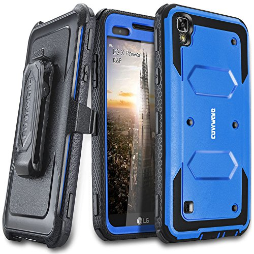 (LG X Power / K6P Case, COVRWARE [Aegis Series] with Built-in [Screen Protector] Heavy Duty Full-Body Rugged Holster Armor Case [Belt Swivel Clip][Kickstand], Blue)