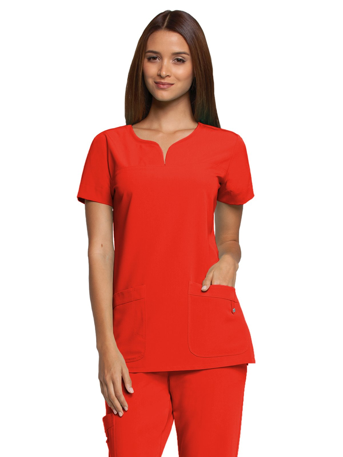 Grey's Anatomy Signature 2121 Notch Neck Top Red Orchid XS