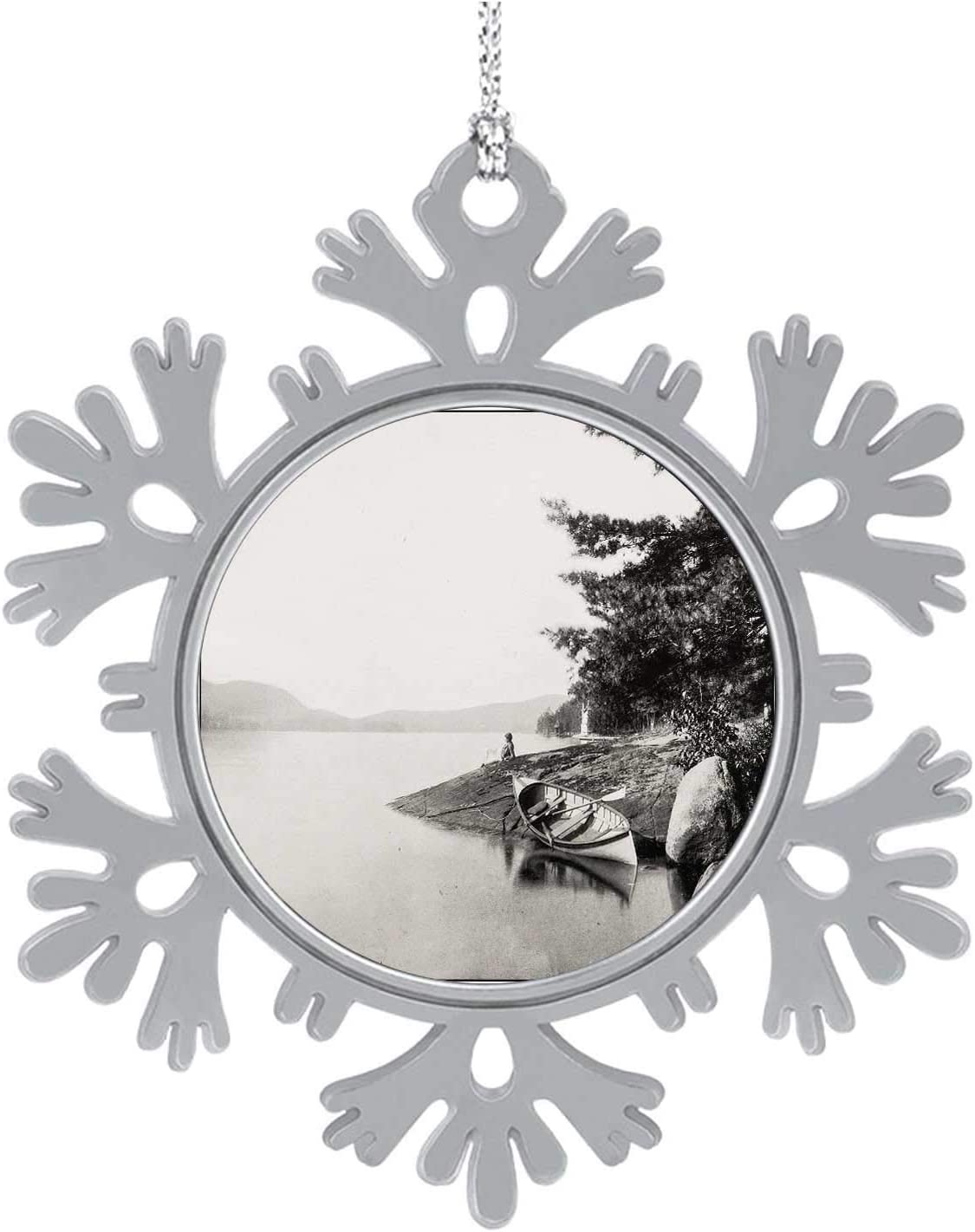 Antique Graph of Lake George USA,Cute 2020 Home Décor Hanging Snowflake Decorations Ornament t Old-Fashioned 5PCS