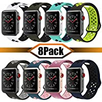 YC YANCH Greatou - Correa de repuesto para Apple Watch (1.496 in, 1.654 in, silicona suave, compatible con iWatch Apple Watch Serie 3, Series 2, Series 1, Nike+,Sport, Edition,S/M M/L)