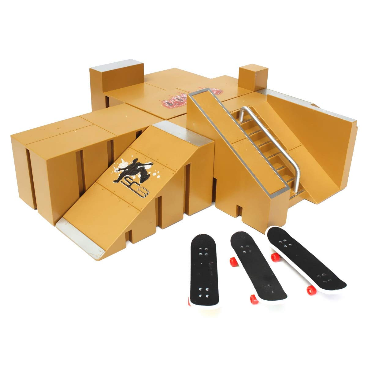 FUMAK New 3X Fingerboard Finger Board Skate Ramp Table Set Professional Platform Ultimate Parks 92A w/Box for Tech Deck Boarding Toy
