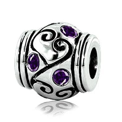 810fdb4e2 Amazon.com: Jovana Sterling Silver Intricate Purple Amethyst Bead Charm,  Fits Pandora Bracelet: Jewelry