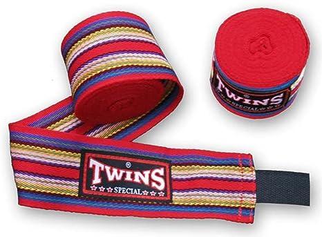 Twins Special Muay Thai Boxeo Vendas Protección Rojo Diseño de rayas: Amazon.es: Deportes y aire libre