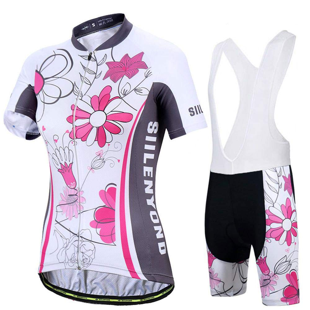 E XXL Woman Sleeveless Cycling Jersey Kit Suits Bike Clothing Cycling Bib Shorts with Gel Padded