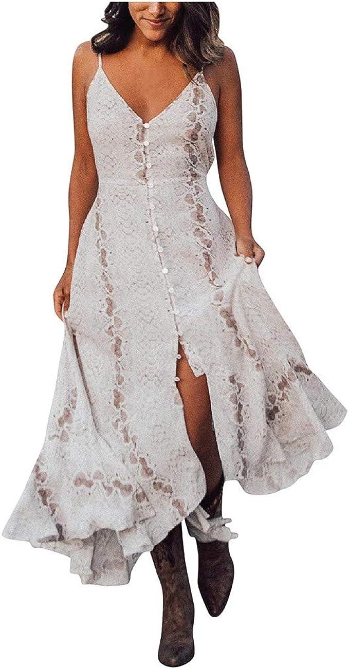 Rosennie MaxiKleid Damen Strand Langes Kleid V-Ausschnitt