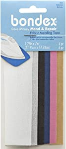 Bondex Mend and Repair with No Sew Iron-On Patch Fabric Mending Tape 1.25x7 (3.175cm x 17.78cm) White, Beige, Black, Navy, Pink, Tan (6pc) (4pk)