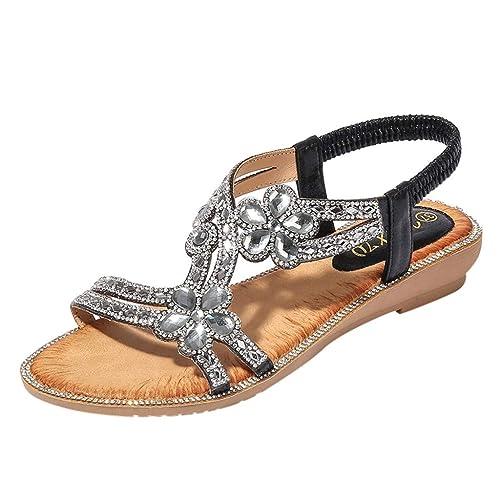 6e7fb98b76 Sandalias de Mujer Veran Tamaño Grande Bohemian Flor de Strass Plano Boca  de Pescado Sandalias de Playa Zapatillas y Chanclas para Mujeres Zapatos  Vestir de ...