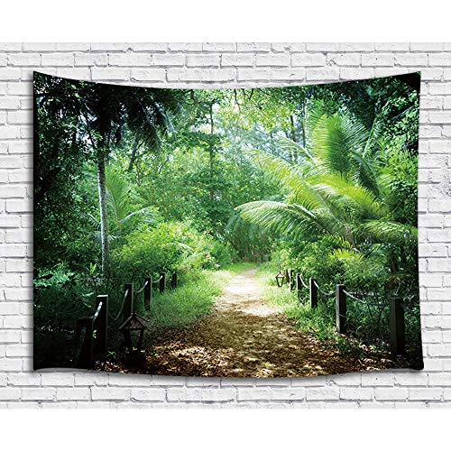 JAWO Rainforest Tapestry, Lush Palm Trees Plants in Tropical Jungle Wild Nature Green Tapestry Wall Hanging, Wall Tapestry for Dorm Living Room Bedroom, Wall Blanket Wall Decor Wall Art Home Decor ()