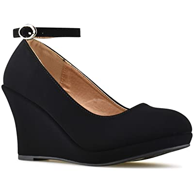 Premier Standard - Womens Wedges Pumps Shoes, Womens Round Toe Strappy High Heel | Pumps
