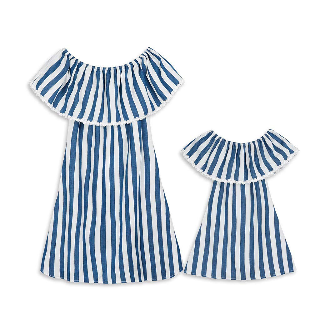 DDLmax Mommy&Me Women Baby Girls Summer Stripe Printing Casual Stretch Cold Shoulder Dress