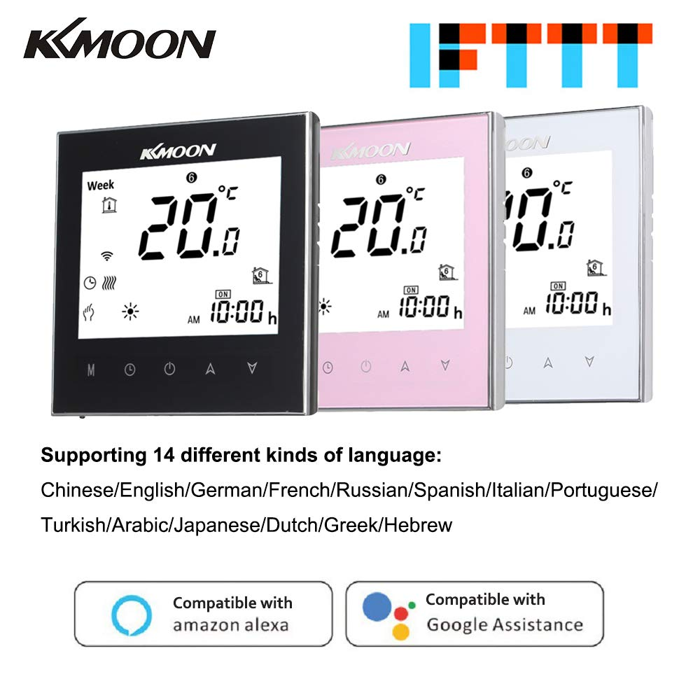 Termostato Inteligente para Caldera de Gas,Wifi Regulador de Sistema,Controlador con Pantalla Negativa T/áctil LCD,Programable 5A AC 95-240V WIFI, blanco