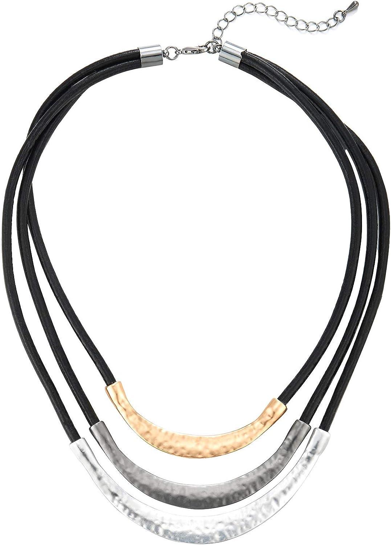 COOLSTEELANDBEYOND Tres Filas Negro Cuero Statement Babero Gargantilla Choker Collar con Oro Gris Plata Textura Metal Encantado Colgantes