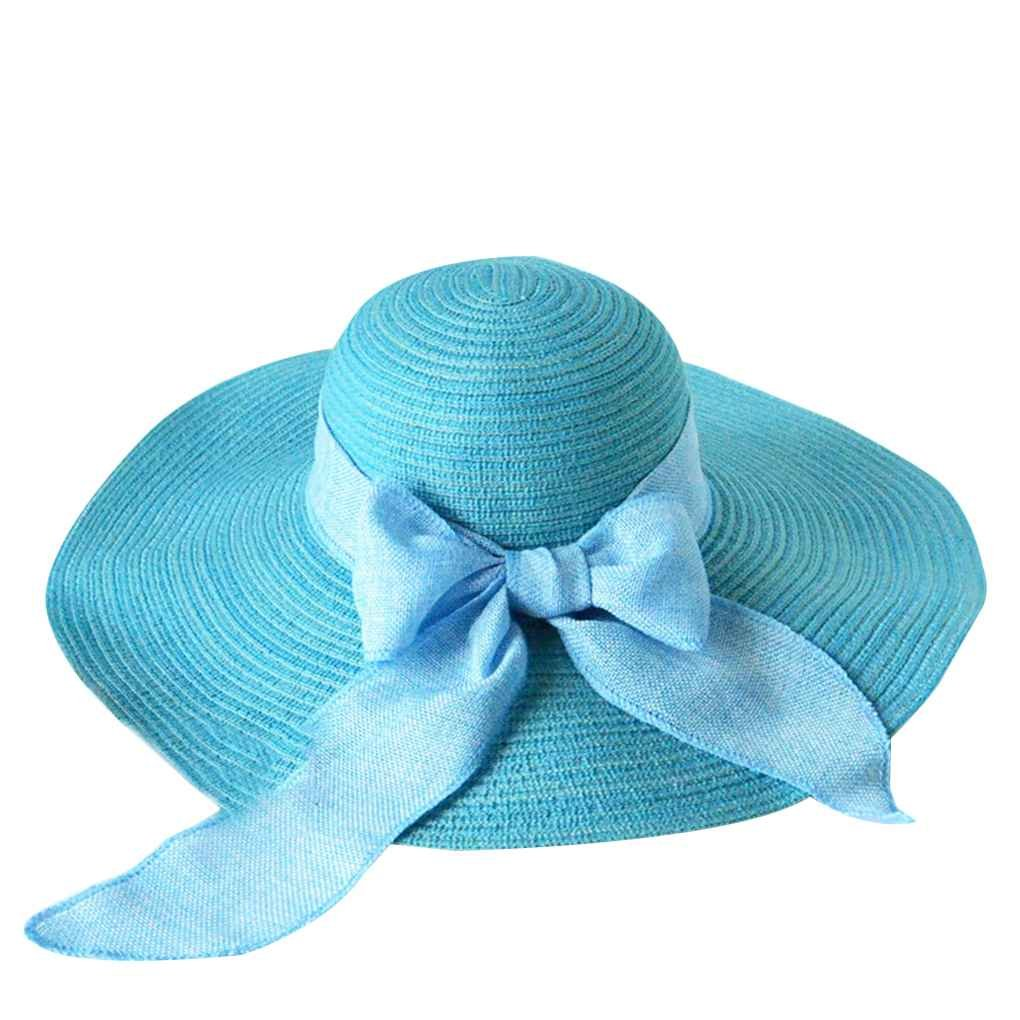 Harmily Foldable Outdoor Travel Summer Beach Women Wide Brim Hat Girl Bowtie Sun Cap Lady UV Protection Panama Cap