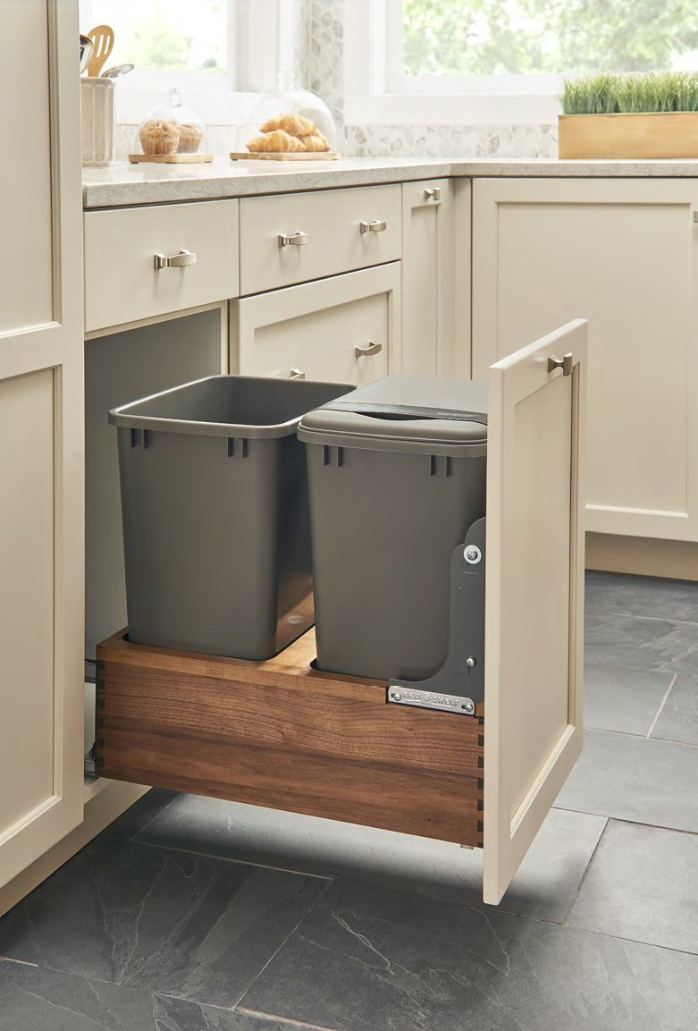 4WC-WN SERIES Bottom Mount Walnut Pullout Waste Containers (Individual Pack) Dbl 50 qt. w/ One Lid and Blum Soft-Close