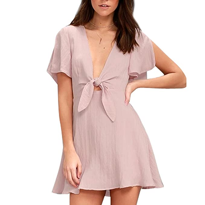 Women s Deep V-Neck Bowknot Front Dresses Solid Flare Sleeve Short Dresses  at Amazon Women s Clothing store  f4d0ce8a54
