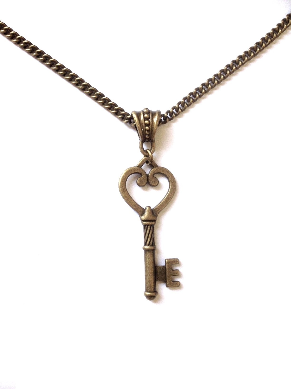 8th Wedding Anniversary Gift For Her - Bronze Vintage Key Necklace - 8 Years/Wedding Anniversary (Bronze) - Boxed & Gift Wrapped