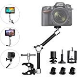 """11"""" Adjustable Robust Articulating Friction Magic Arm, DSLR/Mirrorless/Action Camera/Camcorder/Smartphone/LCD Monitor Video Vlog Rig w/Clamp Holder Mounts Kit fit for GoPro iPhone Arlo etc"""