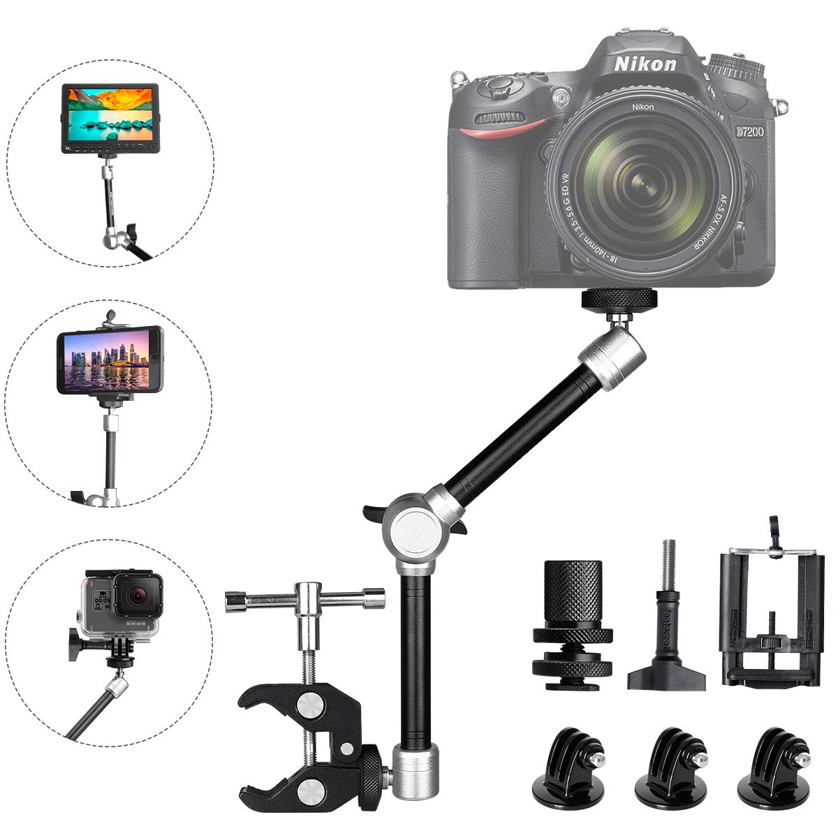 "11"" Adjustable Articulating Israeli Friction Magic Arm Video Rig Camera Clamp Mount Compatible for Gopro Sony Action Camera/DSLR/Camera Rig/LCD Monitor/DV /LED Lights/Flash Light/Smartphone"