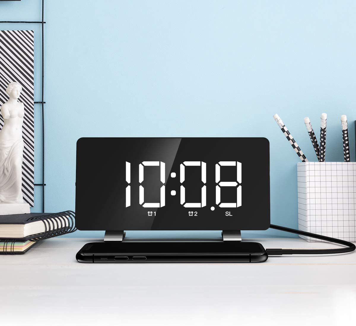 Nicewell Digital Alarm Clock 7.3 LED Screen with Snooze Adjustable 0-100 Brightness Volume Dimmable Easy for Kid Senior Bedside Alarm Clock for Bedroom Home Office 12 24H