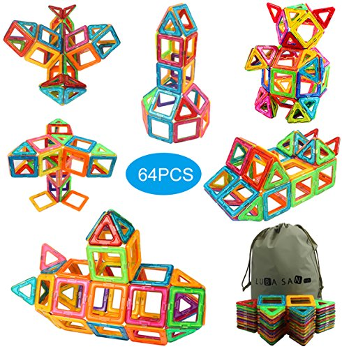 Magnetic Building Blocks Magnetic Tiles Building Set Preschool Educational Construction Kit Magnet Stacking Toys for Kids Toddlers Children-64 PCS