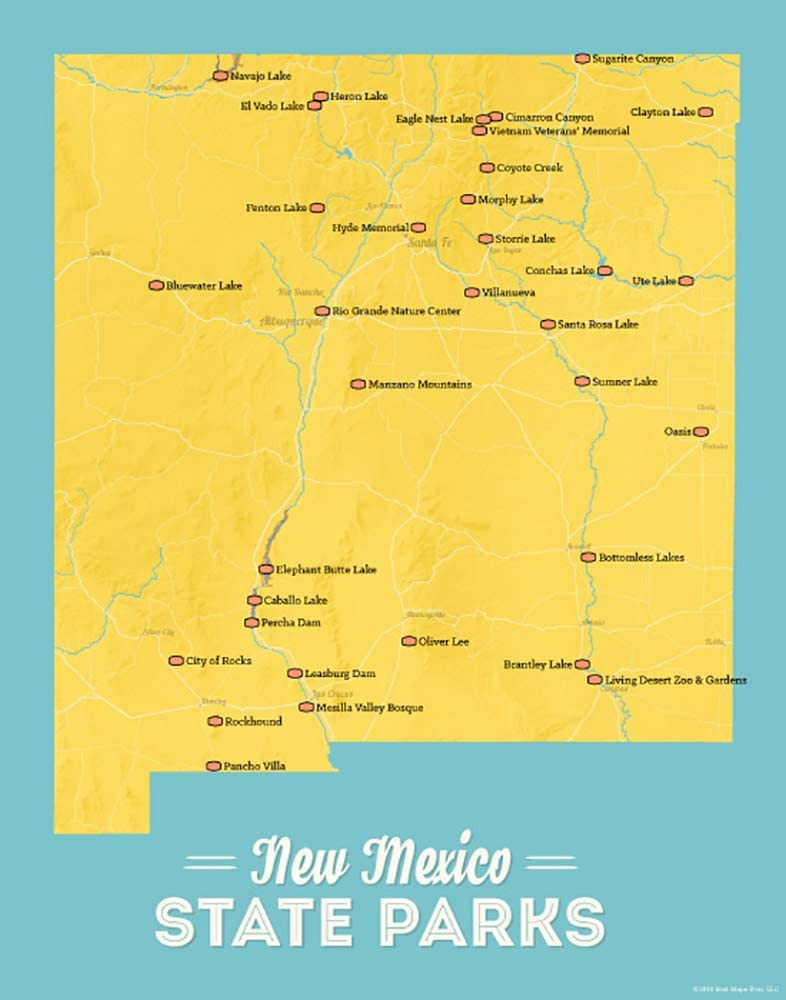 Travel Outdoorsy Gift New Mexico Public Lands Map Poster Map Art Home Decor National Parks National Forests State Parks Poster