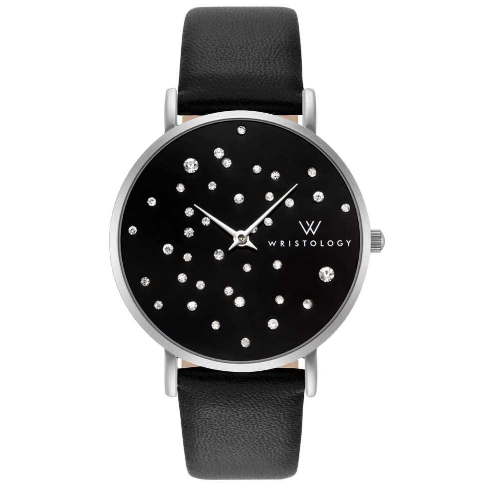 WRISTOLOGY Stella Midnight Womens Silver Boyfriend Watch Black Face Crystal Leather Strap Band