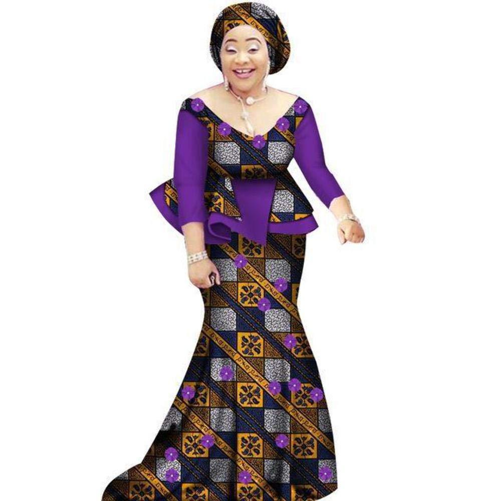 African Prom Dress for Women 2Piece O-Neck Dashiki Cotton Wax Print Skirt Set