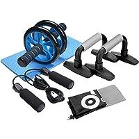 3-in-1AB Wheel Roller Kit–ODOLAND AB Roller Pro con push-up Bar, cuerda de saltar y rodilla Pad–perfecto Core Carver Fitness para abdominales ABS