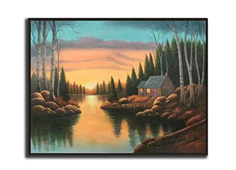 Chiaroscuro Styled 36x48 Orange Sunset Scene With Small Cottage Home Pine Trees And Lake