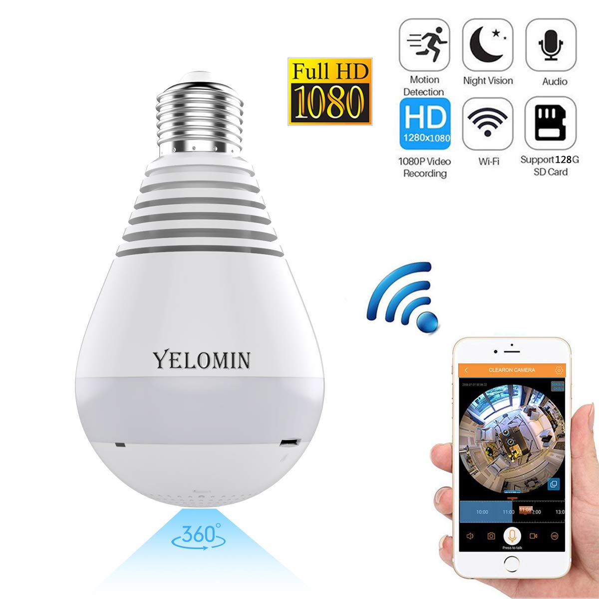 1080P WiFi Secuity Bulb Camera,HD Wireless IP Camera Night Vision VR Panoramic,Motion Detection with Two-way Audio for Android IOS APP 360 Degree Fisheye Home Surveillance System Remote View (white)