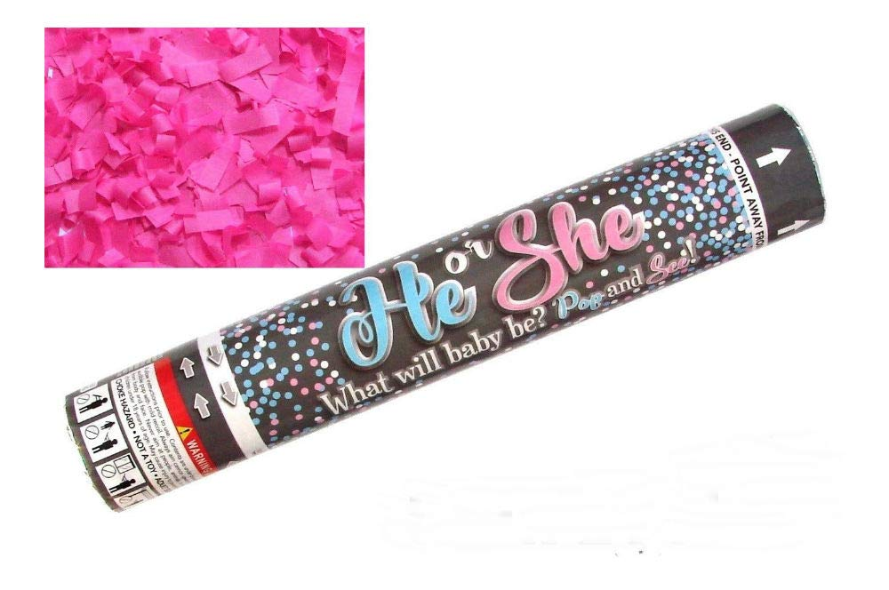 12'' Gender Reveal Girl SHE Pink Party Popper Cannon Pop See