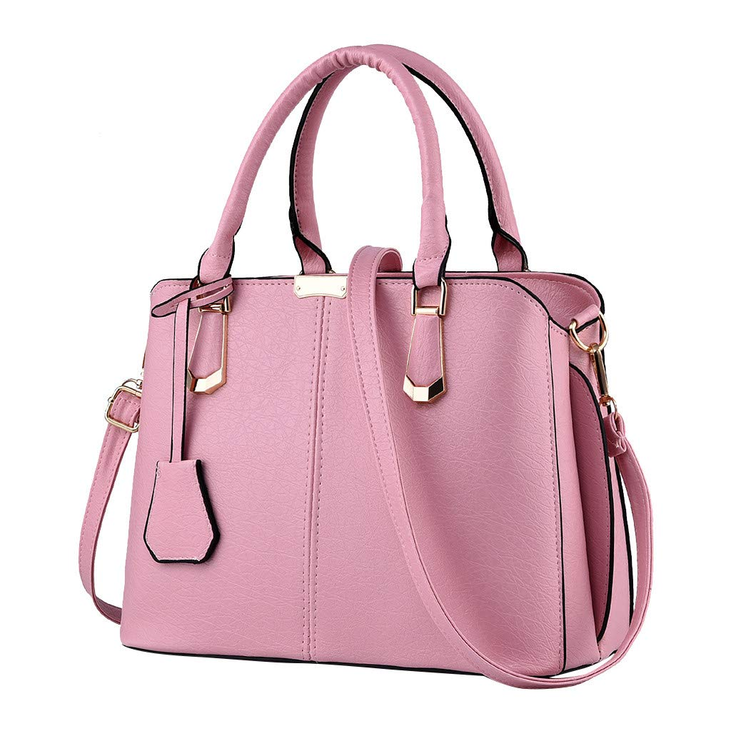 Shoulder Bags,AgrinTol Women Large Capacity Simple Fashion Top Handle Satchel Tote Purse (Pink) by Agrintol_Fashion Bags
