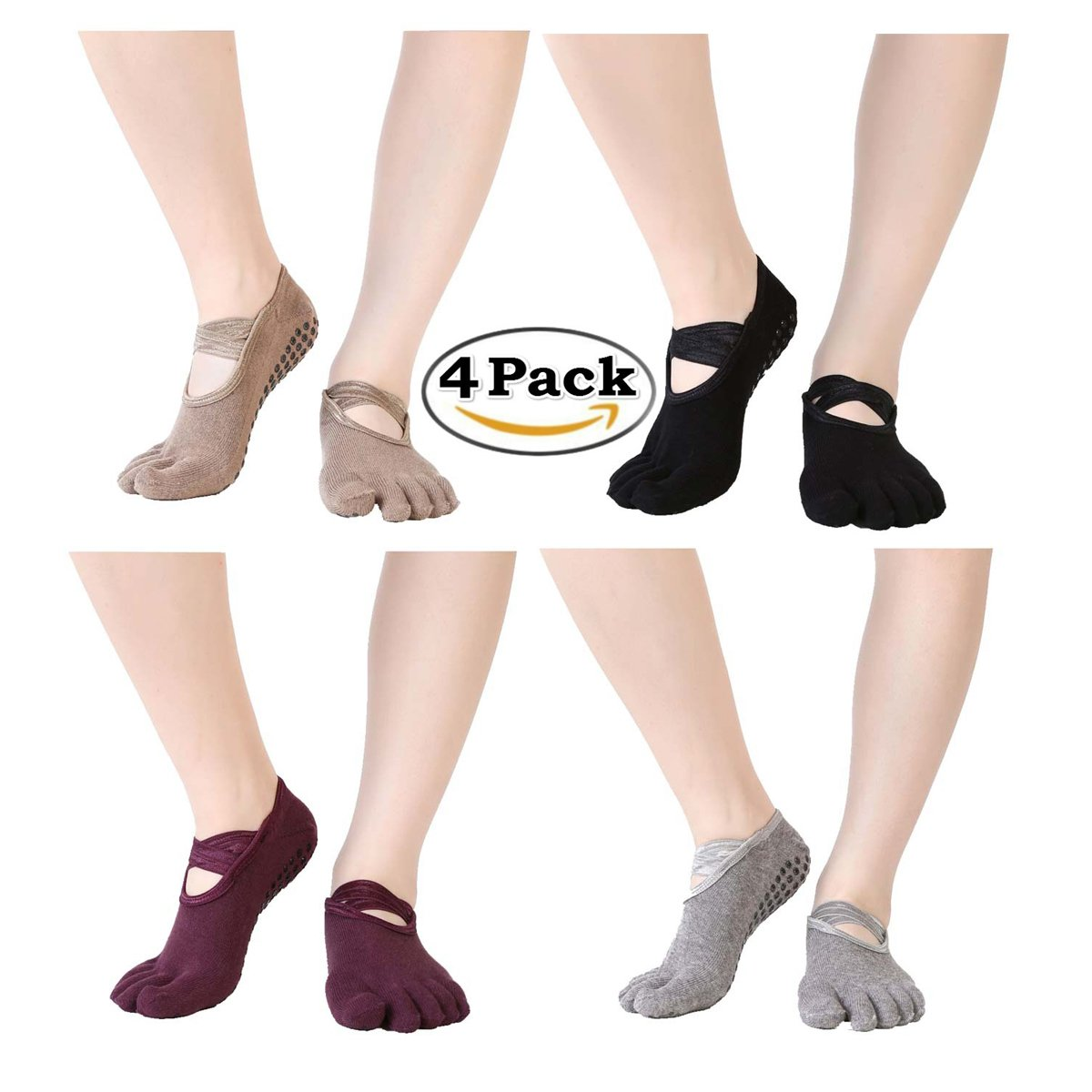 iEase Non-slip Yoga Pilates Barre Sports Cotton Socks for Women,4 Pairs Yoga Socks with Grips