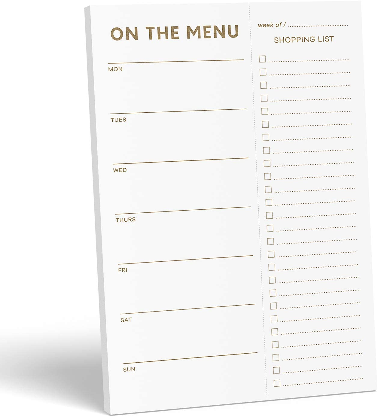 "Sweetzer & Orange Gold Meal Planner and Grocery List Magnetic Notepad. 7x10"" Meal Planning Pad with Tear Off Shopping List. Plan Weekly Menu Food for Weight Loss or Dinner List for Family!"