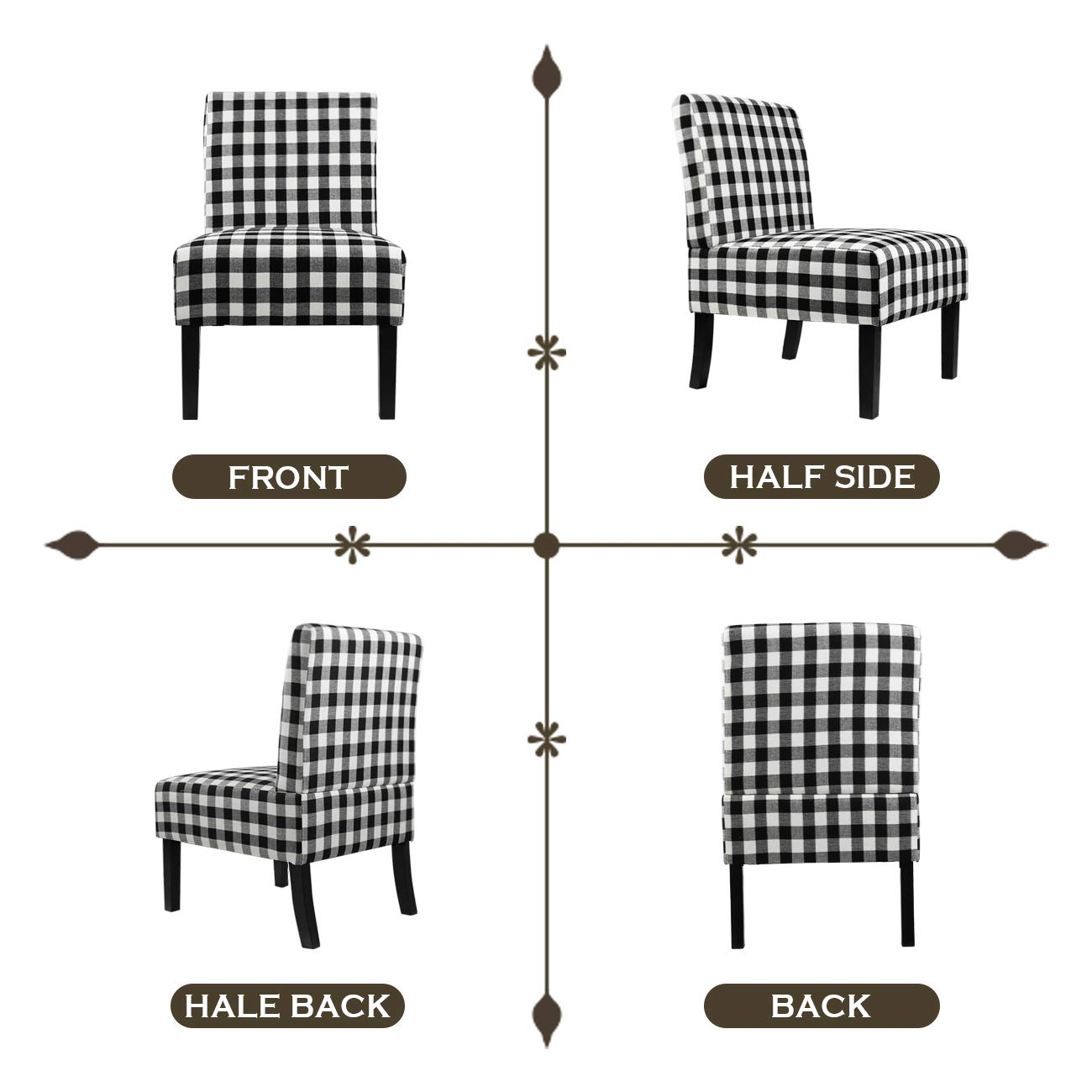 AODAILIHB Armless Accent Chair Modern Fabric Printing Leisure Chair Single Sofa Deco Living Room Bedroom Office Armless Chair Lattice 1Pcs