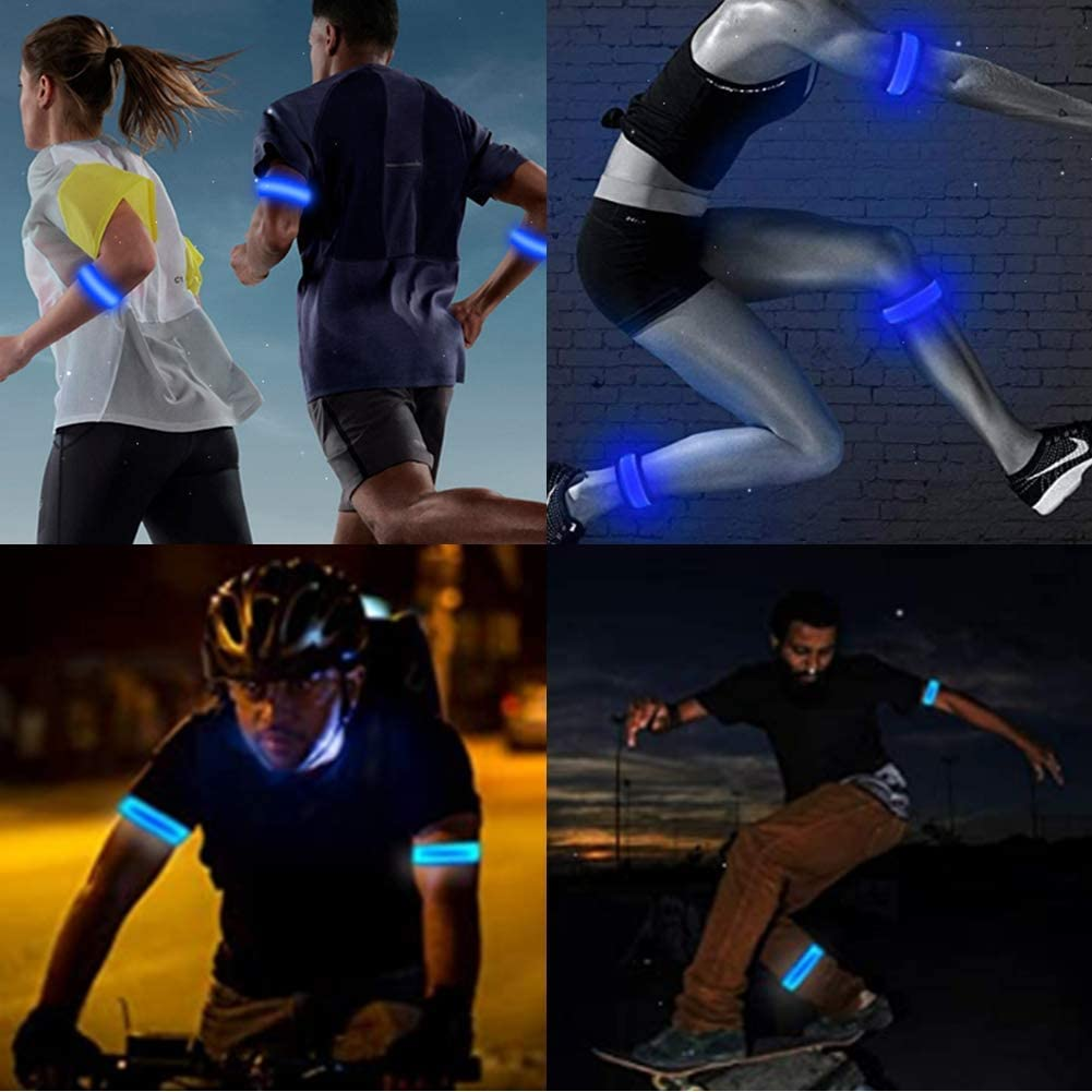 Replaceable Battery High Visibility Gear for Running Walking /& Cycling 2 Pack LED Slap Armband Lights Glow Band for Running