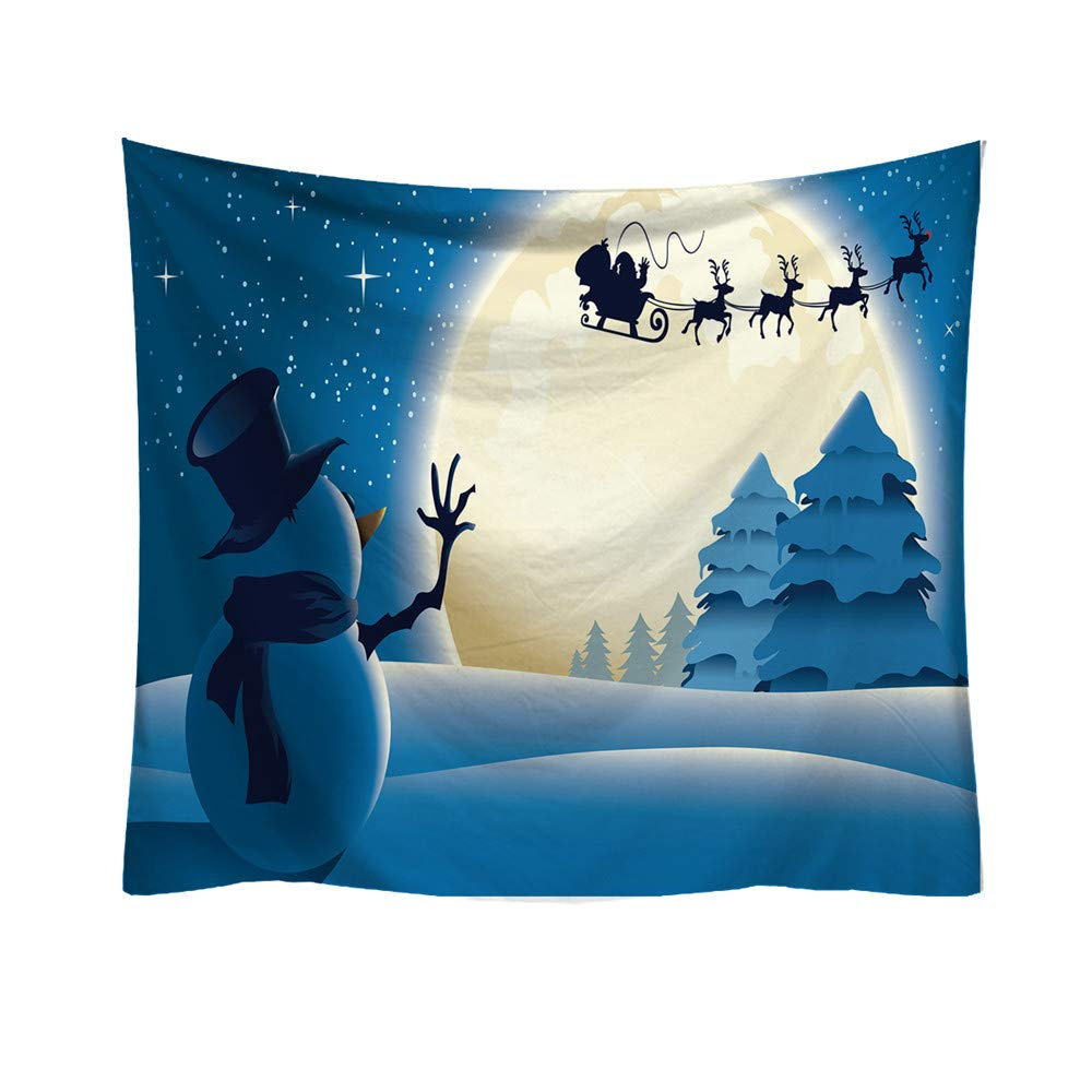 1PC Christmas Tapestry Xmas Santa Claus Sled Tapestries Fabric Wall Hanging for Bedroom Living Room Dorm, 95x73cm, Colorful (A, 95x73cm)