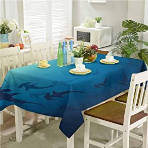 "dsdsgog Oblong tablecloths Hammerhead Shark School Scan Ocean Dangerous Predator Wild Nature Illustration 60""x120"" Overlay Rectangle Tablecloth"